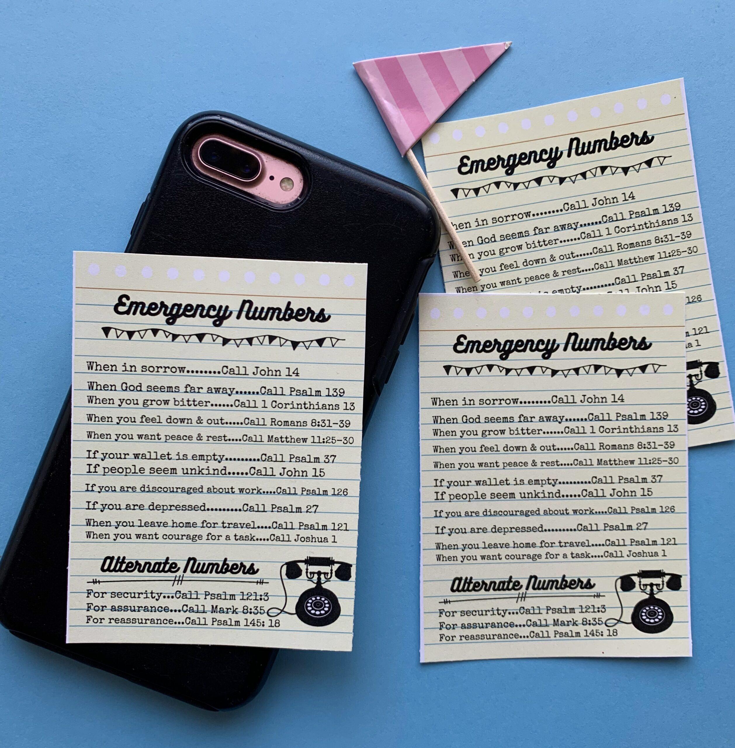 Emergency {Scripture} Numbers.